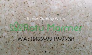Ubin lantai teraso cetak Creamy White