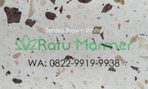 Ubin lantai teraso cetak Brown White