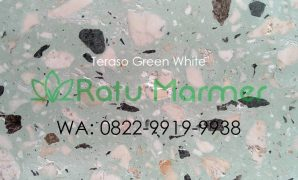 Ubin lantai teraso cetak Green White