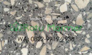 Ubin lantai teraso cetak Grey White