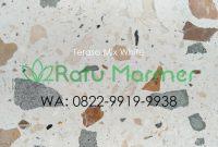 Ubin lantai teraso cetak Mix White