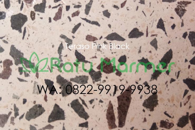 Ubin lantai teraso cetak Pink Black