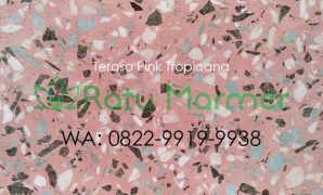 Ubin lantai teraso cetak Pink Tropicana